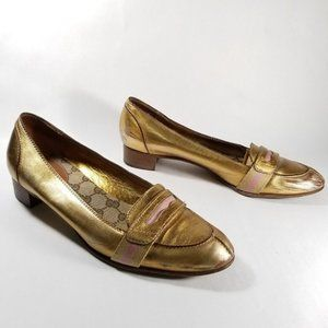 Gucci Metallic Gold Leather Low Heel Penny Loafers